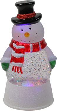 LED Lighted Color Changing Snowman Christmas Glittering Snow Dome 7.5 Inch