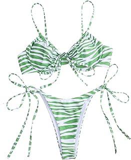 SOLY HUX Women's Zebra Print Spaghetti Strap Underwire Tie Side Bikini Set Two Piece Swimsuits Green M