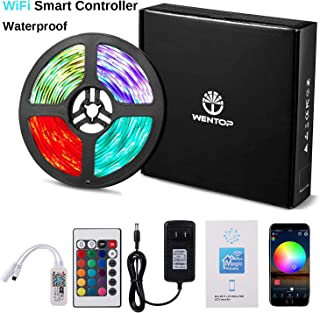 WenTop Waterproof LED Light Strip Kit SMD 5050 16.4 Ft (5M) RGB WiFi Wireless Smart Phone Controlled Strip Lights Kit Works with Android and iOS,IFTTT, Google Assistant and Alexa