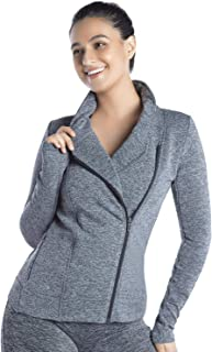 LIN Women Stretchy Workout Track Jacket Running Sports Yoga Jackets Coat Inclined Zipped Standing Collar Activewear