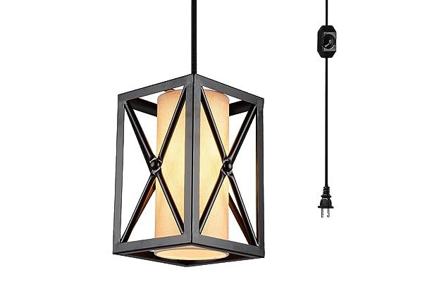 Metal Hanging Creatgeek Industrial Globe Chandelier with 16.4/'(Ft)Plug in Cord