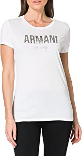 A X Armani Exchange womens Fitted T-Shirt with Large Faded Logo on Chest T-Shirt
