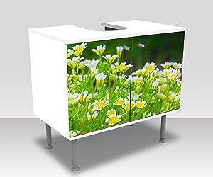 wandmotiv24 Mueble de baño Flores Que Crecen en el jardín de Verano Pegar Delante Mueble de diseño Mueble de Lavabo M1039