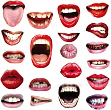 Mouth Photo Booth Props Kit Self-Adhesive 20pcs Different Funny Lips Selfie Photograph Prop Accessories for Birthday Graduation Girls Costume Party and Children's Day Party