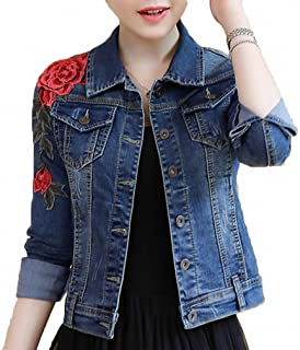 Huiwa Womens Denim Jacket Embroidery Floral Long Sleeve Jeans Coat Skinny Jackets