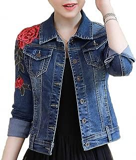 Womens Denim Jacket Embroidery Floral Long Sleeve Jeans Coat Skinny Jackets