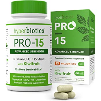 PRO-15 Advanced Strength Probiotics with Kiwi Extract - 15 Strains -60 Once Daily Tablets - 15x More Survivability with Patented Delivery Technology