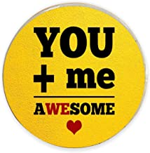 Yaya Cafe Valentine Gifts for Girlfriend Boyfriend Husband Wife Fridge Magnet You+ Me Awesome Printed - Round