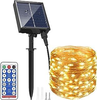 Guirlande Lumineuse Solaire Extérieure 30M 300 LEDs A Télécommande avec 8 Modes d'Éclairage, AUOPLUS Chaîne de Lumière Sol...