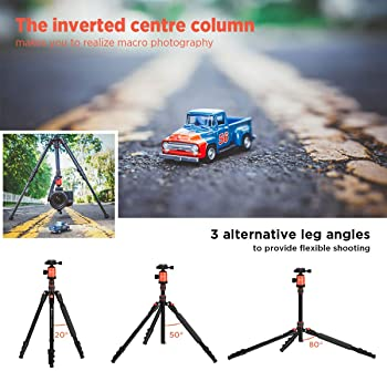 GEEKOTO 77'' Tripod, Camera Tripod for DSLR, Compact Aluminum Tripod with 360 Degree Ball Head and 8kgs Load for Trav...