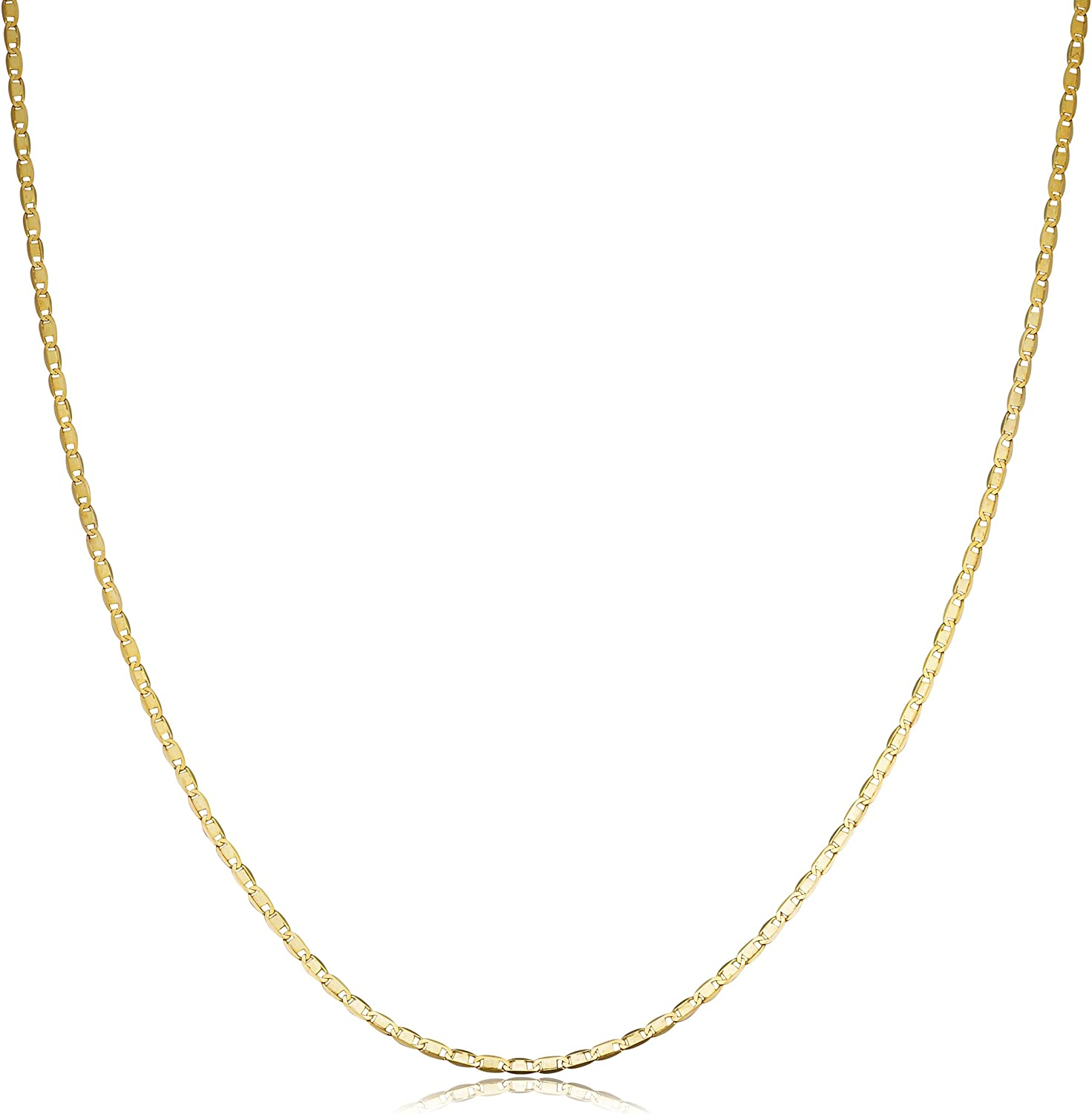 KoolJewelry 10k Yellow Gold 1.4 mm Flat Oval Link Chain Necklace (16, 18, 20, 22, 24 or 30 inch)