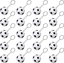 20 Pack White Soccer Ball Keychains for Party Favors, Soccer Stress Ball, School Carnival Reward, Party Bag Gift Fillers (Soccer Ball Keychains, 20 Pack)