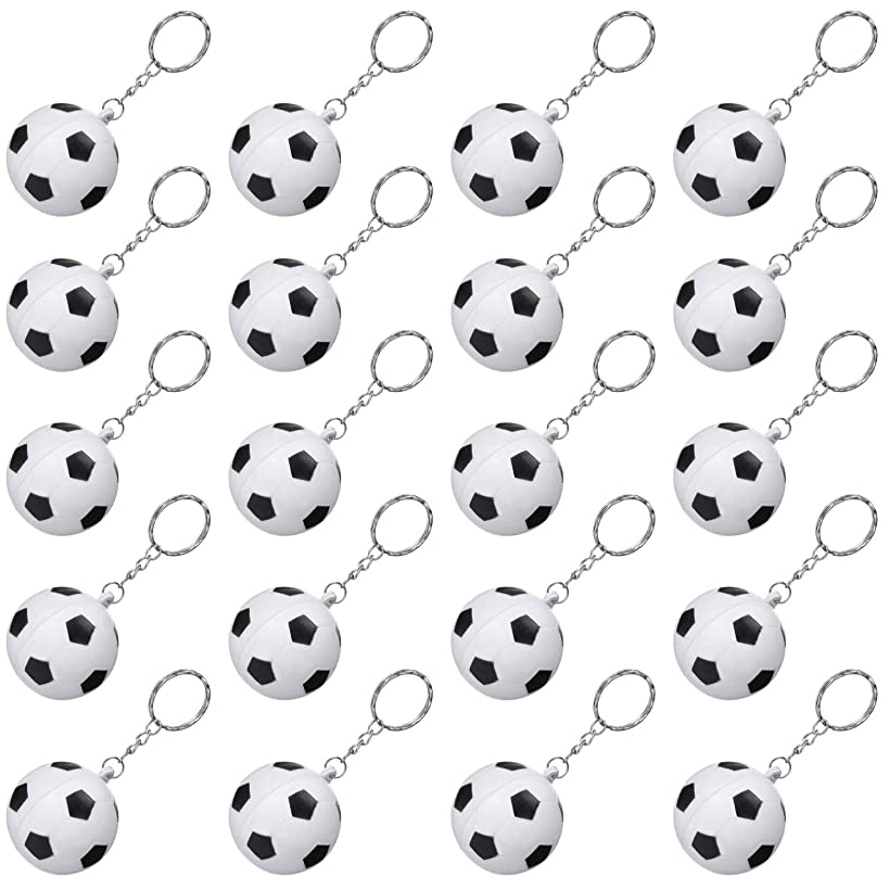 20 Pack White Soccer Keychains for Party Favors, Soccer Stress Ball, School Carnival Reward, Party Bag Gift Fillers (Soccer Keychains, 20 Pack)