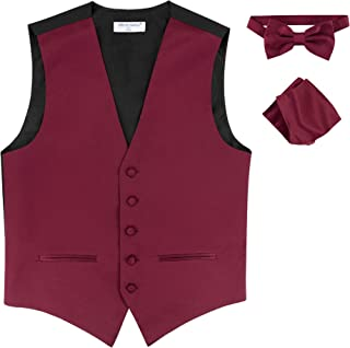 0c0f49aa12e0 Mens Slim FIT Dress Vest Bowtie Solid Burgundy Color Bow Tie Handkerchief  Set