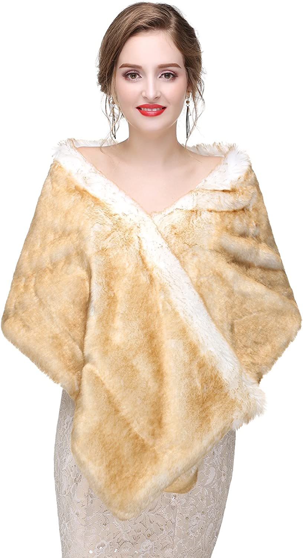 Adonis Pigou Women's Wedding Shawl Faux Fur Wraps Scarf for Evening Party Dresses