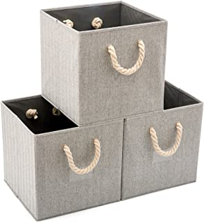 EZOWare Pack de 3 Panier de Rangement Pilable en Tissu avec Poignée en Corde de Coton, Boîte de Rangement pour Etagères, P...