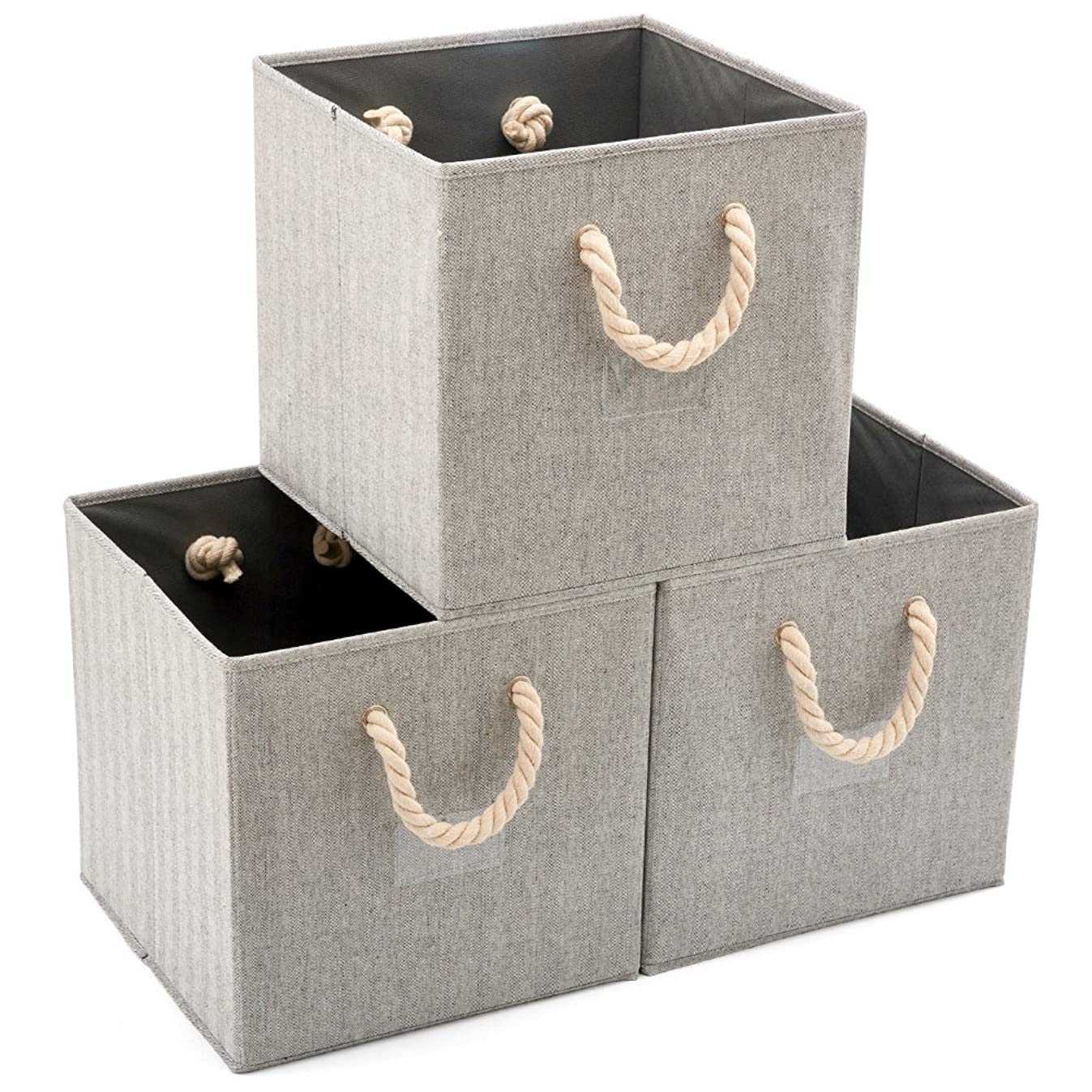 EZOWare [Set of 3] Foldable Fabric Storage Cube Bins with Cotton Rope Handle, Collapsible Resistant Basket Box Organizer for Shelves Closet Toys and More – Gray 13x13x13 inch