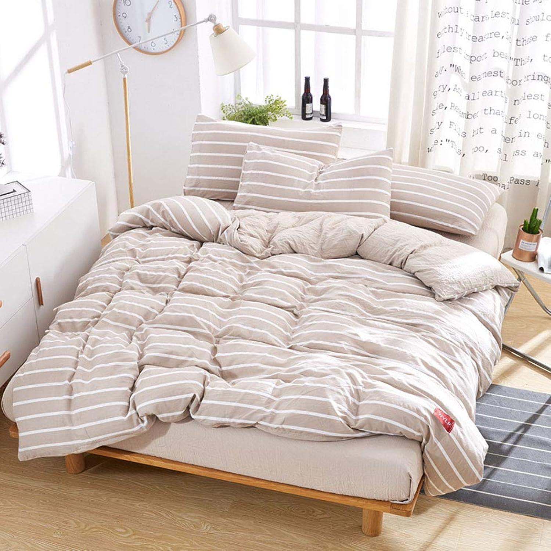 Washed Cotton FourPiece Stripe Duvet Cover & Pillowcase Set Bedding Quilt Case