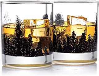 Whiskey Glass Set of 2 Forest Landscape Old Fashioned Whiskey Glass 11OZ Lead Free Hand Blown Heavy Base for Scotch Bourbo...