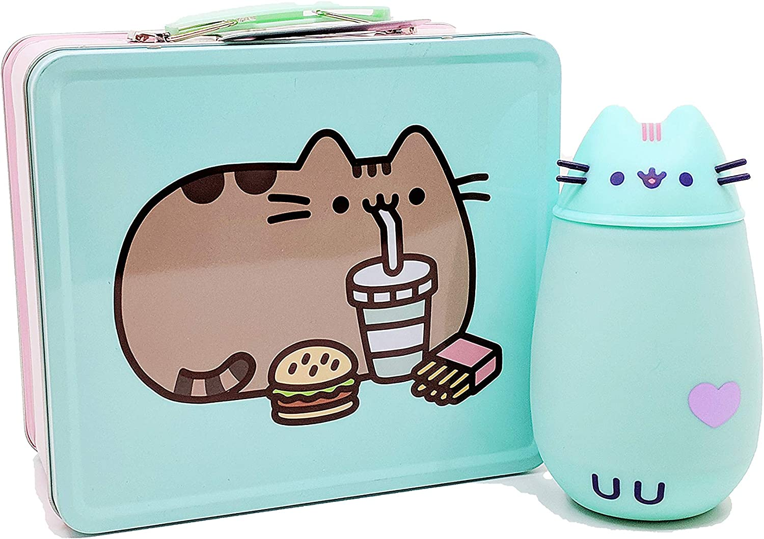 Isaac Morris Pusheen Lunch Set  Pusheen with Fast Food Lunch Box in Pink & Green and Pusheen Mint Green Stainless Steel Thermos with Whiskers