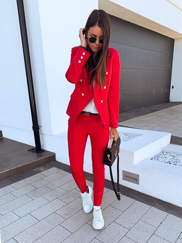 Beaufident Damen Elegant Langarm Blazer Sakko Einfarbig Slim Fit Revers Geschäft Büro Jacke Kurz Mantel Anzüge Slim Fit Bolero mit Tasche A Rot