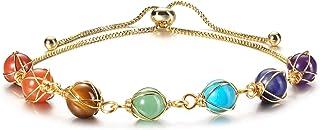 Jovivi 7 Chakra Stones Bracelet for Women Girls Adjustable 14K Gold Wire Wrapped 8mm Natural Round Gemstone Beads Reiki He...