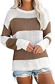 Women Jumpers Knit Sweaters Casual Round Neck Long Sleeve Waffle Knit Pullover Tops Color Block Patchwork Stylish Jumper C...