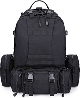 G4Free Large 50L Tactical Molle Backpack with 3 MOLLE Bags Military Rucksacks 3 Day Assault Pack Bug Out Bag Outdoor Combat Backpack Survival Trekking Bag for Hiking Camping
