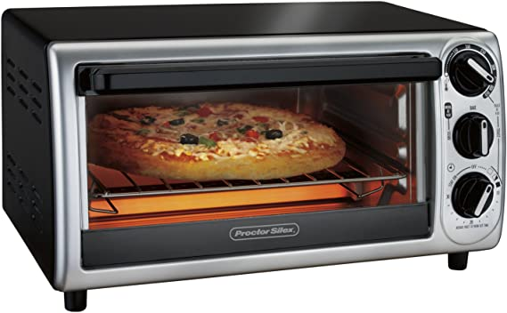 Proctor Silex 4-Slice Modern Countertop Toaster Oven with Bake Pan