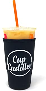CupCuddler Iced Coffee Insulated Sleeve I Reusable Neoprene Beverage Insulator Keeps Ice Drinks Cold I Java Coaster I for Dunkin Donuts Starbucks McDonalds and More (Black, Large)