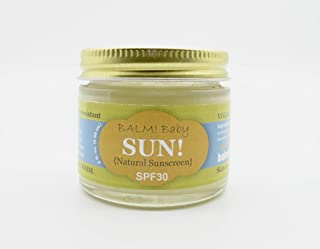 BALM! Baby All Natural Sunscreen SPF 30 - Made in USA! (2 Ounce - Glass Jar)