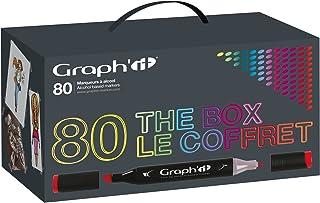 Graph'it GI00800 Coffret de 80 Marqueurs avec présentoir acrylique Couleurs Assorties