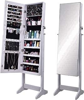sogesfurniture Lockable Floor Standing Wooden Jewelry Cabinet Mirror Cabinet Chest Armoire Wardrobe Storage Organizer, White BHUS-QH-6150