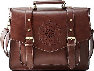 """ECOSUSI Umhängetasche Damen Vintage Laptoptasche 14.7"""" Schultertaschen Arbeitstasche Handtasche Braun"""