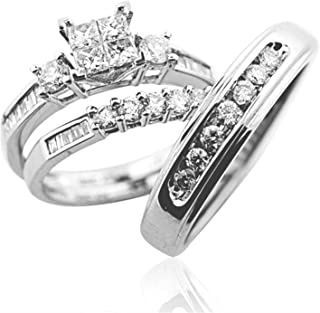 Trio Wedding Ring Set His and Her Rings White Gold Real Diamonds Princess 0.75ct(i2/i3, i/j