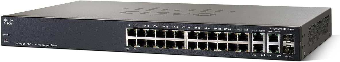 Cisco SF300-24 24-Port 10/100 Managed Switch with Gigabit Uplinks (SRW224G4-K9-NA)
