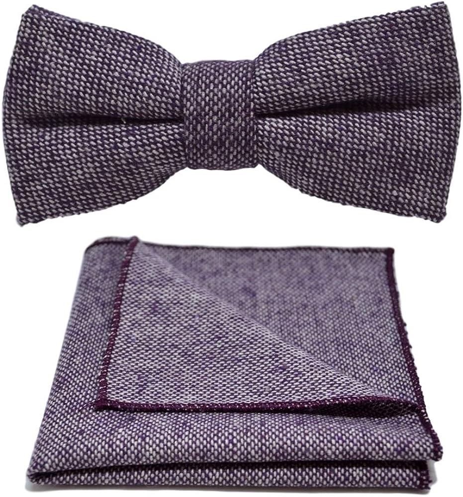 Highland Weave Stonewashed Purple Bow Tie & Pocket Square Set