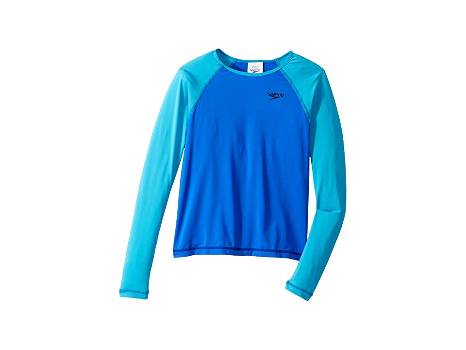 Speedo Kids Long Sleeve Rashguard (Big Kids) (Dark Peri) Girl