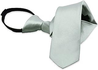 Boys' Solid Color Zipper Tie 15 inch/19 inch Polyester Satin Zipper Neckties by AURYA