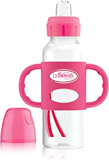 Dr. Brown's Options+ Sippy Spout Baby Bottle with 100% Silicone Handle, Pink