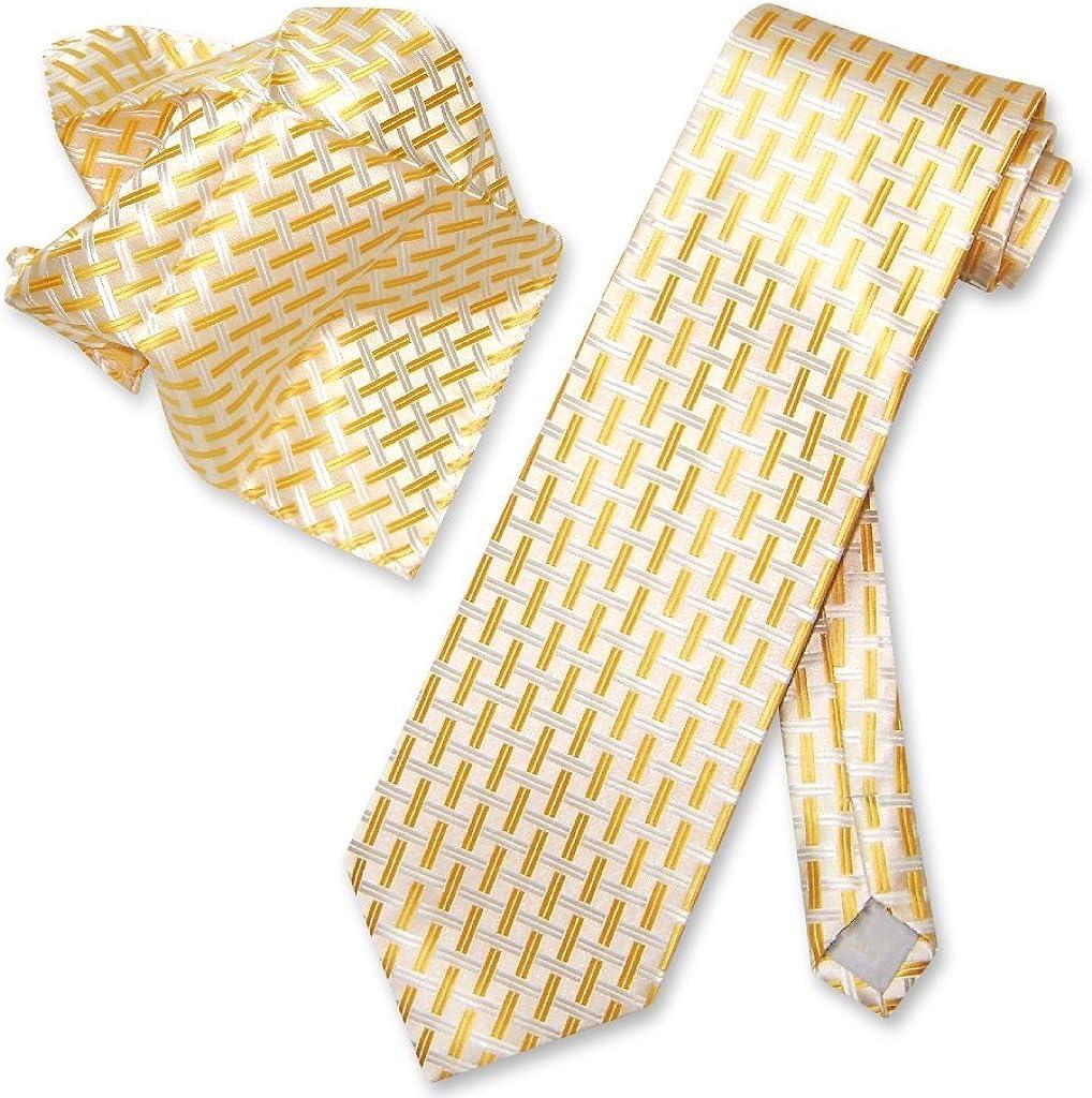 Antonio Ricci NeckTie Handkerchief Yellow White Weave Pattern Men's Neck Tie Set