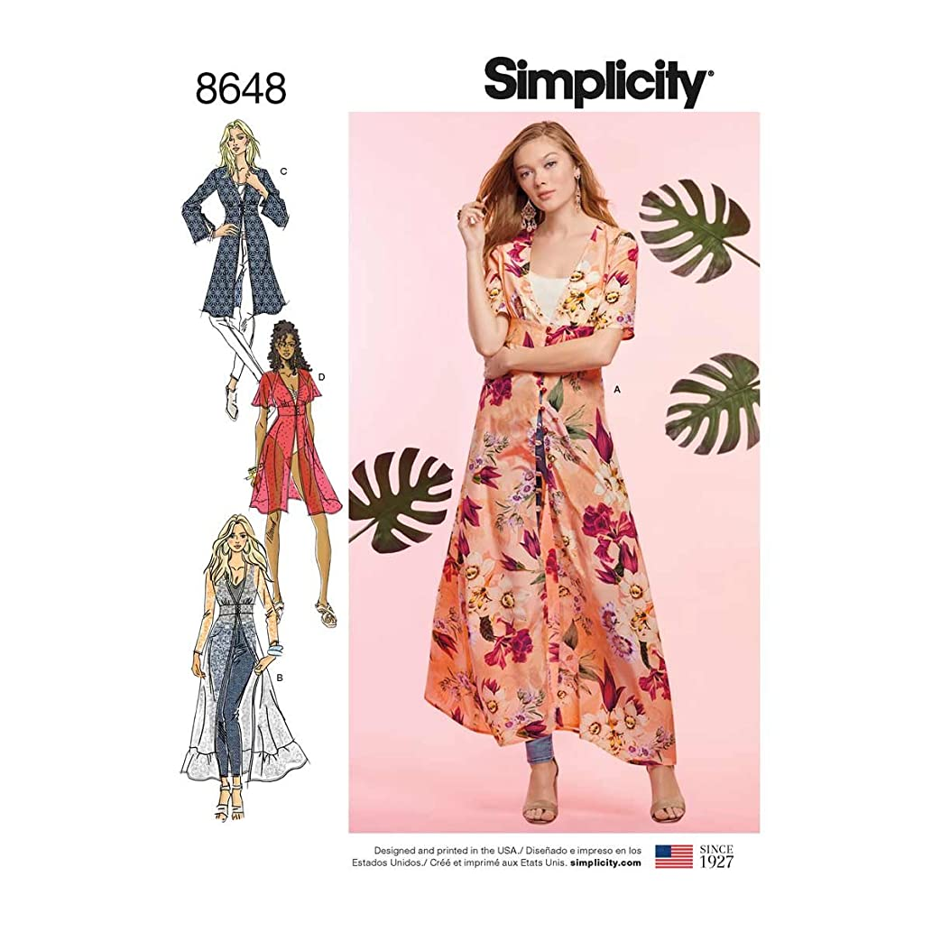Simplicity Patterns US8648R5 Tops, Vest, JKTS, Coats, R5 (14-16-18-20-22)