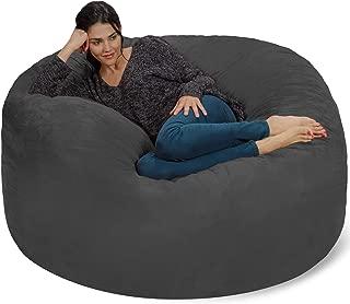 Chill Sack Bean Bag Chair: Giant 5' Memory Foam Furniture Bean Bag - Big Sofa with Soft Micro Fiber Cover - Charcoal (Renewed)
