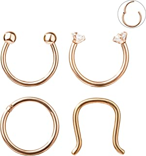 16G 3-8PCS 316L Stainless Steel Septum Piercing Nose Rings Hoop Cartilage Tragus Retainer Body Piercing Jewelry 8-10MM