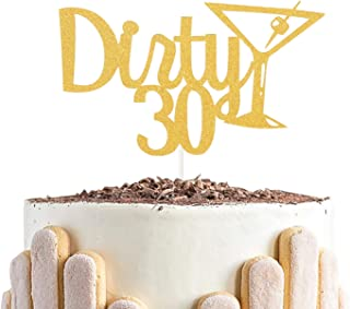 Dirty 30 Cake Topper and Champagne Glass - Cheer to 30 Years Cake Topper -Gold Glitter Hello 30-30th Birthday/Wedding Anni...