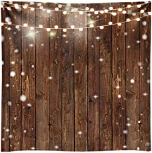 Funnytree 8X8FT Durable Fabric Photography Backdrops Wood Glitter Bright Lights Wrinkle Free Background for Wooden Fence Wall Wedding Bridal Shower Photographer Photoshooting Photo Studio