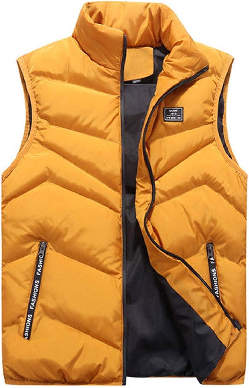 LYLY Vest Women Male Vest Colors Men Autumn Winter Fashionable Casual O-Neck Collar Solid Color Waistcoat Vests Jacket Tops Coat Vest Warm (Color : Yellow, Size : L)