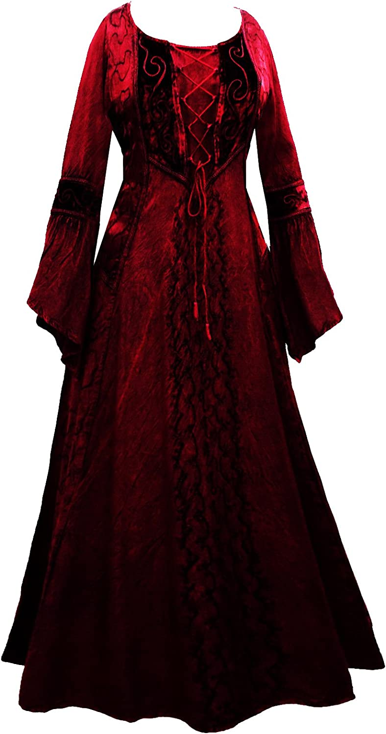 Long Red Medieval Corset Princess Dress 10 12 14 16 18 20 22 24 26 28 30 32   Velvet Fancy Skirt Plus Size Goth Gothic Witch Elvin