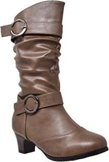 Generation Y Kids Girls Boots Mid Calf Knee High Low Heels Double Buckles Zipper Closure