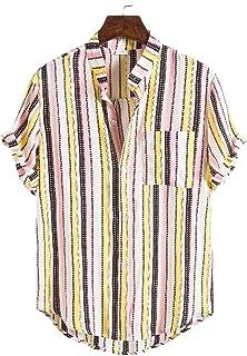 MakingDa Mens Collarless Grandad Shirt Short Sleeve Lightweight Summer Button Henley T Shirts Beach Lounge Tops for Party ...